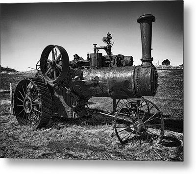 Steam Tractor Noir Metal Print by Daniel Hagerman