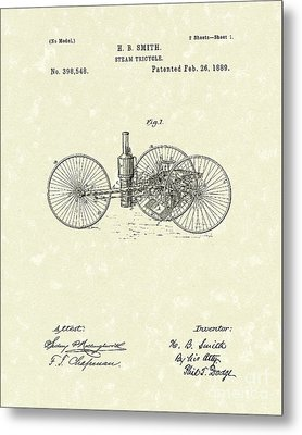 Steam Tricycle 1889 Patent Art Metal Print