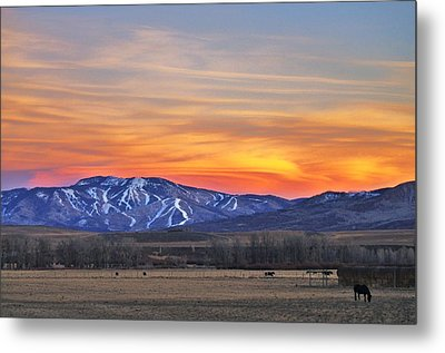 Steamboat Alpenglow Metal Print by Matt Helm