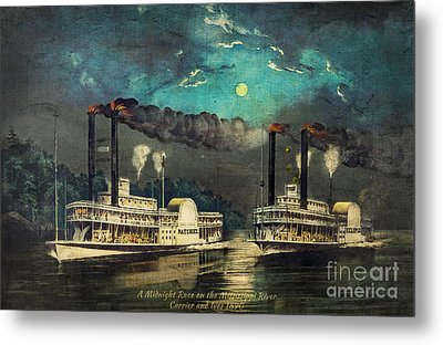 Steamboat Racing On The Mississippi Metal Print by Lianne Schneider