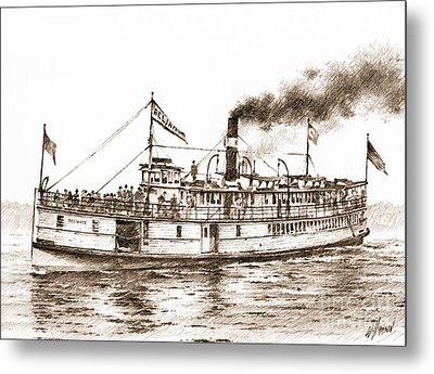 Steamboat Reliance Sepia Metal Print