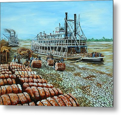Steamboat Unloading Cotton In Memphis Metal Print by Karl Wagner