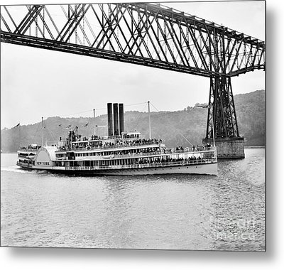 Steamer Albany Under Poughkeepsie Trestle Black And White Metal Print