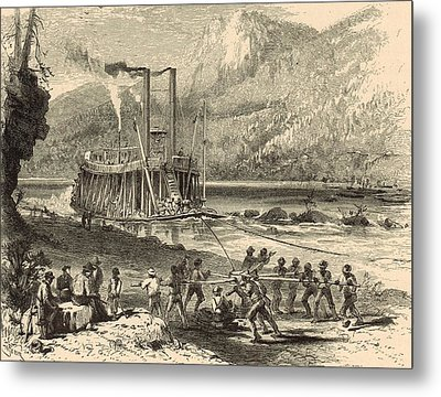 Steamer On The Tennessee Warped Through The Suck - 1872 Engraving Metal Print by Antique Engravings