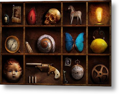 Steampunk - A Box Of Curiosities Metal Print by Mike Savad