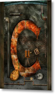 Steampunk - Alphabet - C Is For Chain Metal Print by Mike Savad