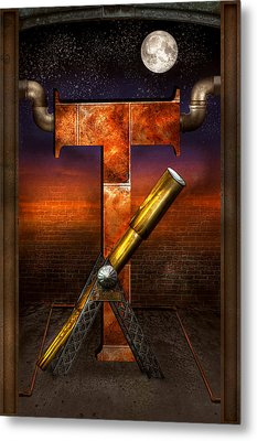 Steampunk - Alphabet - T Is For Telescope Metal Print by Mike Savad