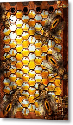 Steampunk - Apiary - The Hive Metal Print by Mike Savad