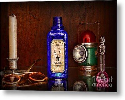 Steampunk Bottled Light Metal Print by Paul Ward