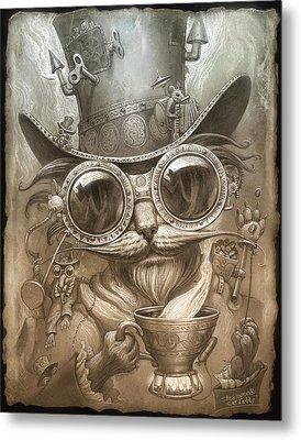 Steampunk Cat Metal Print