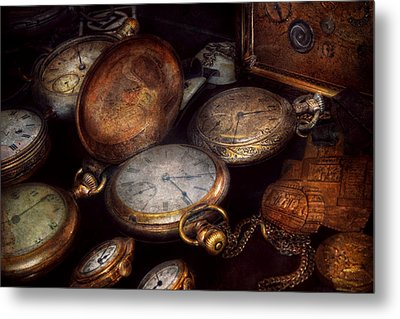 Steampunk - Clock - Time Worn Metal Print by Mike Savad