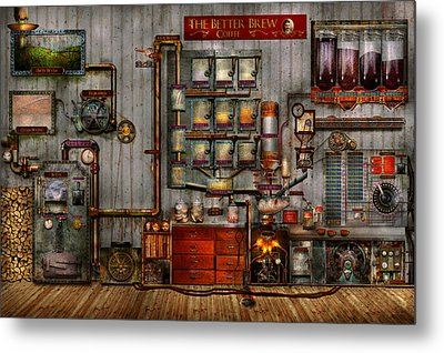 Steampunk - Coffee - The Company Coffee Maker Metal Print by Mike Savad