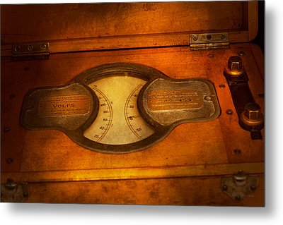 Steampunk - Electrician - The Portable Volt Meter Metal Print by Mike Savad