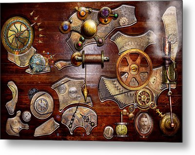Steampunk - Gears - Reverse Engineering Metal Print by Mike Savad