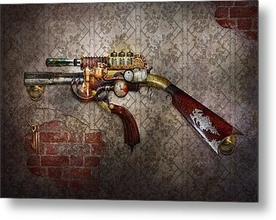 Steampunk - Gun - The Sidearm Metal Print by Mike Savad