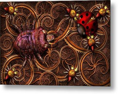 Steampunk - Insect - Itsy Bitsy Spiders Metal Print