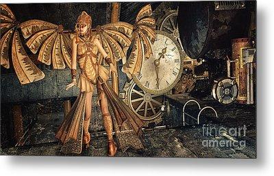 Steampunk Meeting Point Metal Print by Jutta Maria Pusl