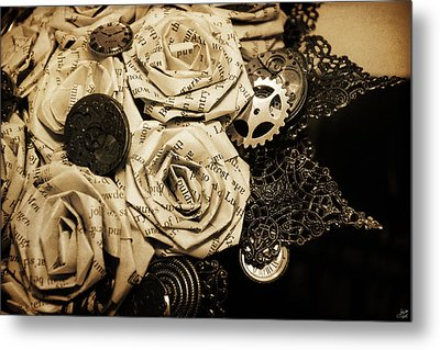 Steampunk Paper Roses Will Never Fade Metal Print by Lisa Knechtel