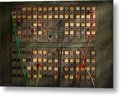 Steampunk - Phones - The Old Switch Board Metal Print by Mike Savad