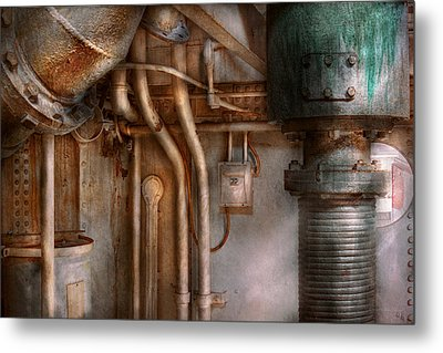 Steampunk - Plumbing - Industrial Abstract  Metal Print by Mike Savad