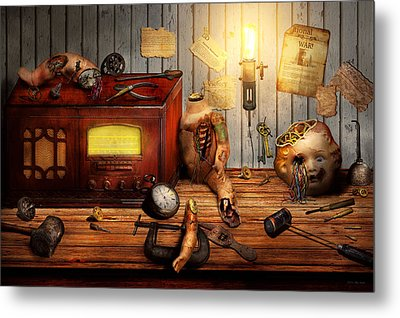 Steampunk - Repairing A Friendship Metal Print by Mike Savad