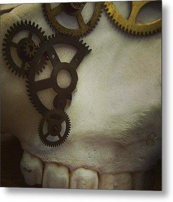 #steampunk #skull #clockworks #cogs Metal Print by Heidi Cutter