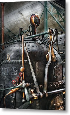 Steampunk - The Steam Engine Metal Print by Mike Savad