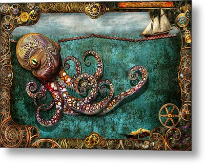 Steampunk - The Tale Of The Kraken Metal Print