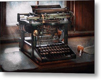 Steampunk - Typewriter - A Really Old Typewriter  Metal Print by Mike Savad
