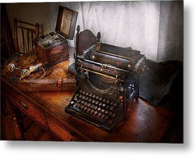 Steampunk - Typewriter - The Secret Messenger  Metal Print by Mike Savad