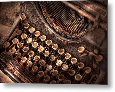 Steampunk - Typewriter - Too Tuckered To Type Metal Print by Mike Savad