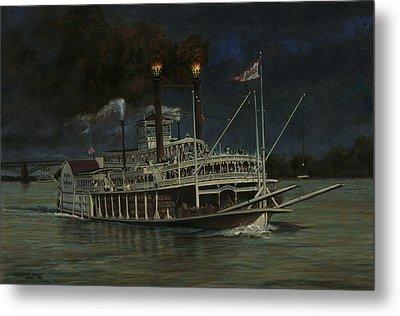 Kate Adams Steamboat Night Metal Print by Don  Langeneckert
