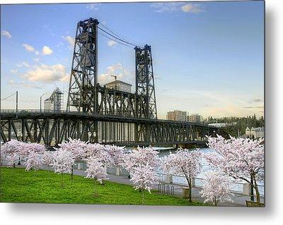Steel Bridge And Cherry Blossom Trees In Portland Oregon Metal Print
