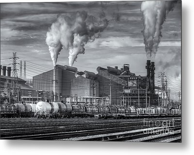 Steel Mill And Freight Yard II Metal Print by Clarence Holmes