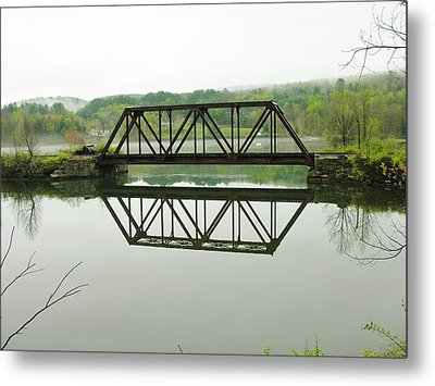 Metal Print featuring the photograph Vermont Steel Railroad Trestle On A Calm  Misty Morning by Sherman Perry