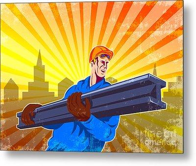 Steel Worker Carry I-beam Retro Poster Metal Print by Aloysius Patrimonio
