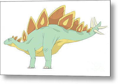 Stegosaurus Pencil Drawing With Digital Metal Print by Alice Turner