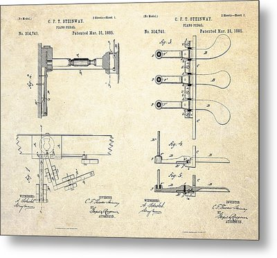 1885 Steinway Piano Pedal Patent Art Metal Print by Gary Bodnar