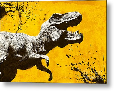 Stencil Trex Metal Print by Pixel Chimp