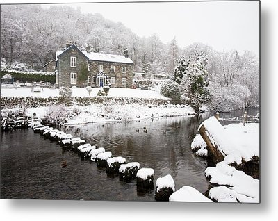 Stepping Stones Across A River Metal Print by Ashley Cooper