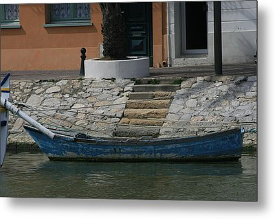 Steps To Blue Boat Metal Print