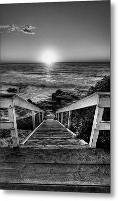 Steps To The Sun  Black And White Metal Print by Peter Tellone