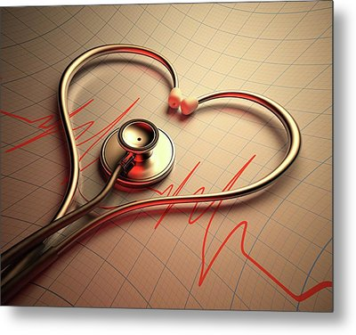Stethoscope In Heart Shape Metal Print by Ktsdesign
