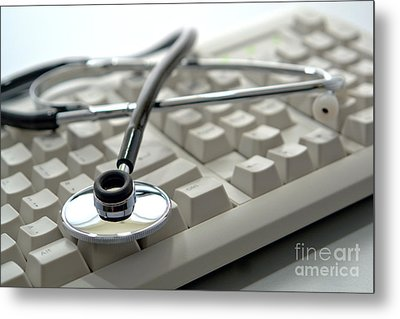 Stethoscope On Computer Keyboard Metal Print by Olivier Le Queinec