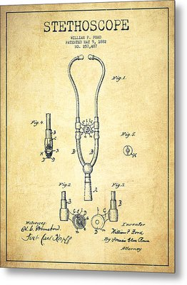 Stethoscope Patent Drawing From 1882 - Vintage Metal Print