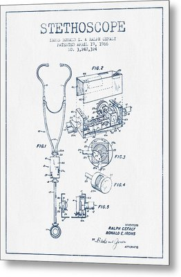 Stethoscope Patent Drawing From 1966 - Blue Ink Metal Print