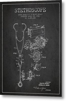 Stethoscope Patent Drawing From 1966- Dark Metal Print by Aged Pixel