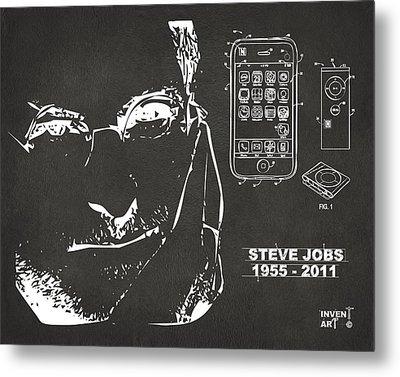 Steve Jobs Iphone Patent Artwork Gray Metal Print