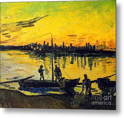 Stevedores In Arles Metal Print by Vincent van Gogh