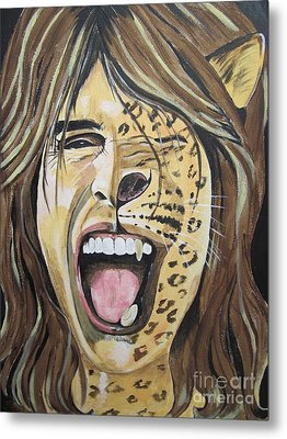 Metal Print featuring the painting Steven Tyler As A Wild Cat by Jeepee Aero